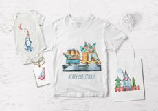 Watercolor Christmas clipart. Christmas cars and trucks Product Image 6