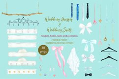 Watercolor wedding outfit on hangers and cloth hooks Product Image 3