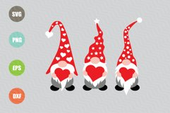Three Gnomes Holding Hearts SVG Product Image 1