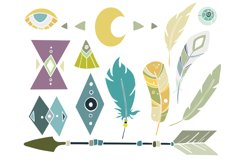 Hand drawn tribal elements - arrow feather crystal clipart Product Image 4