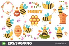 Set Baby Yellow Bee clipart. Cute Honey Bee SVG clip art Product Image 1