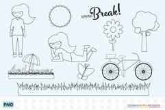 Girl Clipart coloring pages in PNG and PDF format Product Image 1