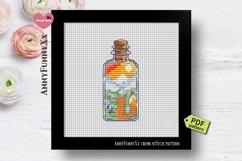 Mini bottle cross stitch pattern PDF, Mason jar Xstitch fox Product Image 4