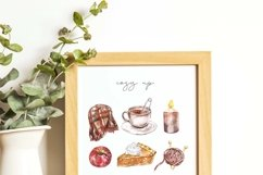 Fall Clipart Watercolor Autumn Cozy Painting Clip art Product Image 5