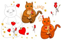 Festive cat with love heart and rose in its paws/clipart Product Image 1