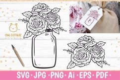 Mason Jar SVG file, Mason Jar Cut file, Mason Jar with roses Product Image 1