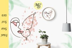 Abstract Woman Face-butterfly Line Art. SVG, PNG, EPS Product Image 2