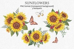 Watercolor sunflowers PNG. Product Image 3