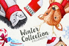 Cute Watercolor characters clipart, Christmas Clipart Product Image 2