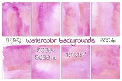Colorful abstract watercolor backgrounds in pink 8 JPG Files Product Image 1