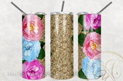 Floral 20 oz Skinny Tumbler Sublimation /Gold Glitter Product Image 2