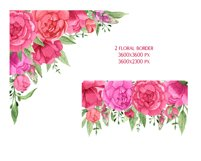 Watercolor Pink Peonies Frames Bouquets Floral Clipart Product Image 4