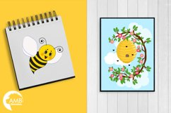 Bumble bee cliparts, Honey bee cliparts, graphics, illustrations AMB-1053 Product Image 4
