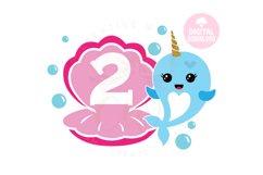 2nd Birthday svg | My 2nd Birthday svg | Narwhal Birthday Product Image 1