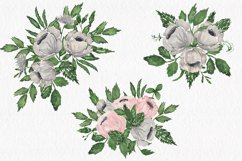 Gray and Pink Blooming. Watercolour clipart collection. Product Image 5