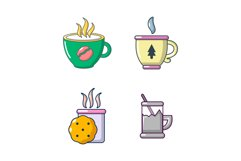 Tea cups icon set, cartoon style Product Image 1