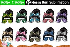 Messy bun with camo- Mother's day sublimation design Product Image 1