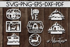Camping Sign Papercut Templates Bundle, Adventure SVG, DXF Product Image 1
