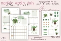 Printable Planner plus Free Stickers, Plants Planner, PDF Product Image 1