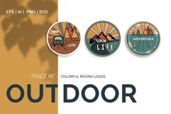 Outdoor Travel. Set of twelve colorful round logos. Product Image 1