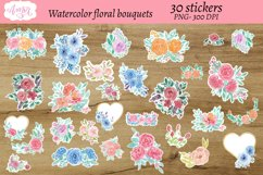 Watercolor floral bouquets stickers, print then cut sticker Product Image 2