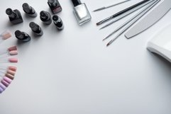 Top view of manicure equipment on white background Product Image 1