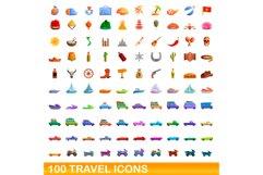 100 travel icons set, cartoon style Product Image 1