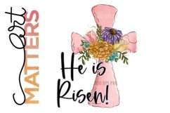 He is Risen Pink Cross Doodles Flowers - 300 DPI Product Image 1