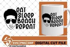 Eat Sleep Beach Repeat svg, Afro Boy svg, Glasses , Melanin Product Image 1