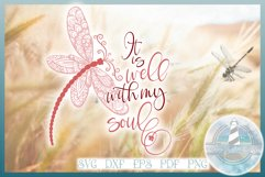 It Is Well With My Soul Quote with Dragonfly Mandala SVG Product Image 1