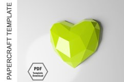 PDF Template of 3D Heart Papercraft Lowpoly Love Papercraft Product Image 5