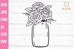 Mason Jar SVG file, Mason Jar Cut file, Mason Jar with roses Product Image 2