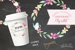Watercolor Teapot Flower Wreath Floral Clipart Set Product Image 3