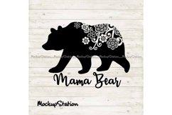 Mama bear SVG, Mothers Day png, bear floral mandala clip art Product Image 1