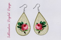 Vintage Rose Floral Teardrop Earrings Sublimation design png Product Image 1