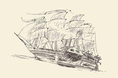 Set of engraved style ships Product Image 1