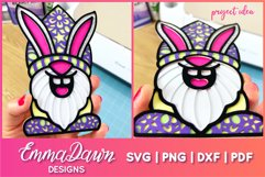 3D LAYERED EASTER BUNNY GNOME SVG, 3D SVG, 7 LAYERS Product Image 2