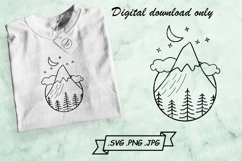 Night Mountain Scene SVG - Mountain With Forest SVG Cut File Product Image 1