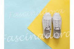 White sneakers on blue and yellow, copy space, top view Product Image 1
