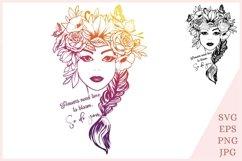 Flower woman SVG, Floral girl svg Product Image 1