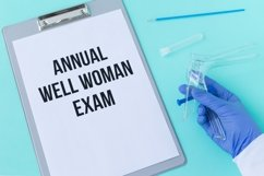 Annual well woman exam. Speculum Cusco, blue background Product Image 1