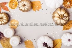 Multicolored leaves and white pumpkins Product Image 1