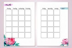 Undated monthly planner's sheets with watercolor flower A5 Product Image 3