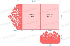 Lace wedding invitation template, Svg files for cricut Product Image 6