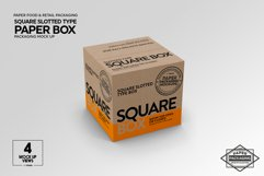 Square Slotted-Type Paper Box Packaging Mockup Product Image 5