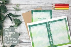 Green Watercolor Blank Card Templates Editable PDF MS Word Product Image 3