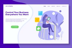 Control Your Business Landing Page Flat Illustration Vector Product Image 1