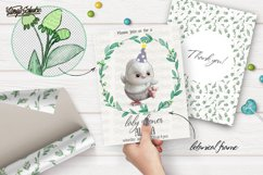 White owl clipart collection. Animal portrait. Floral frame. Product Image 4
