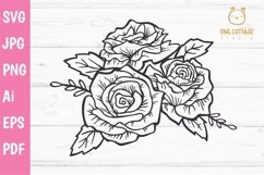 Mason Jar SVG file, Mason Jar Cut file, Mason Jar with roses Product Image 3