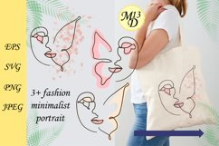Abstract Woman Face-butterfly Line Art. SVG, PNG, EPS Product Image 1